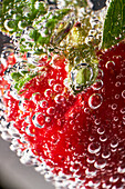 Closeup ripe red strawberry covered with air bubbles floating in transparent clear water