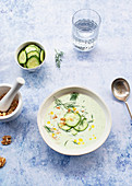 Cold cucumber and dill soup named Tarator on rustic table