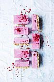 Vegan raspberry cream slice
