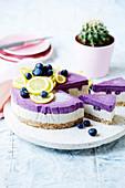 Vegan raw blueberry lemon un-cheesecake