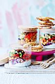Vegan savoury yoghurt and spicy chickpea jars