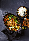 Yellow pork curry with ginger lime rice