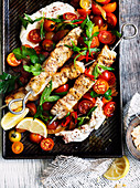 Fish skewers with labneh and chilli tomato salad