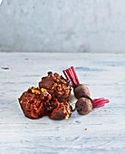 Chocolate, beetroot and walnut muffins