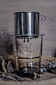 Brewing Vietnamese egg coffee (Ca Phe Trung)