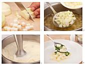 Preparing kohlrabi soup