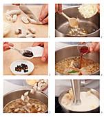 Preparing sausage soup