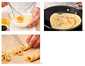 Preparing pancake strips