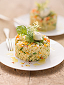 Creamy vegetable and barley tartare