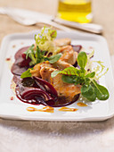 Marinated chicken breast slices with beetroot