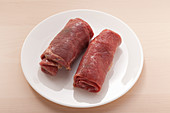 Raw beef roulades