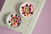 Yoghurt with granola, blackberries, rose petals and cherries