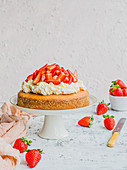 Yoghurt cake with cream and strawberries