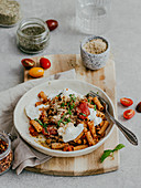 Lentil and tomato pasta