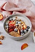 Plum and peach porridge with chia