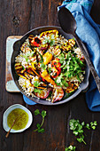 Chargrilled capsicum and couscous salad with jalapeno dressing