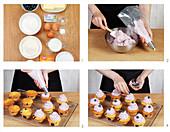 Preparing blueberry cupcakes