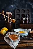Baking set with honey, eggs, lemon and flour