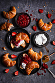 French croissants with yoghurt and strawberry rhubarb jam