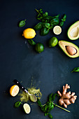 Green composition- avocado, basil, lemon and ginger