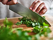 Chopping parsley