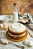 Rustic style coffee sponge cake with caramel cream