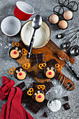 Christmas reindeer shaped muffins with chocolate