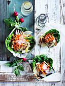 Tofu and carrot kimchi lettuce