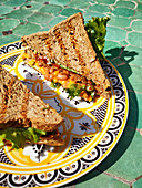 Whole grain toast sandwiches with baked beans