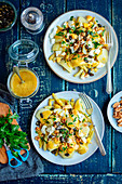 Potatoe, bean and egg salad with mustard dressing