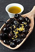 Morrocan olives with olive oil and lemon zest