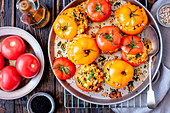 Tomatoes stuffed with feta and couscous