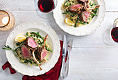 Lamb rack with couscous and beans