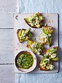 Edamame, feta and avocado bruschetta