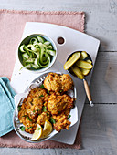 Buttermilk-baked chicken with pickled cucumbers and garlic mayo