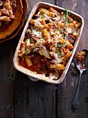 Sausage, mushroom and pasta bake