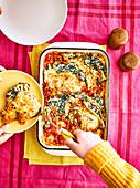 Pfannkuchenauflauf mit Spinat und Ricotta