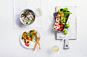 Bombay potato frittata, Wasabi chicken rice salad, Lime prawn cocktail pitta salad