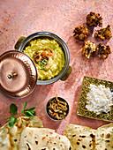 Tarka dahl with wild garlic pakora roti