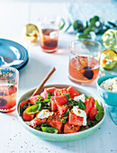 Herby watermelon salad with whipped feta