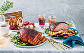 Pork belly roast with sticky glühwein plums, Honey-glazed gammon with pineapple salsa, Asian sriracha and soy glazed gammon with crisp asian salad gourmet