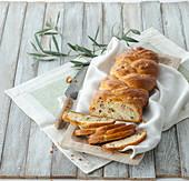 Mortadella and pistachio braid