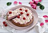 Vegan raspberry cheesecake with chocolate shortcake and piped cream
