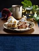 Baked chocolate choux bun Alaska