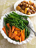 Buttered spring vegetable platter