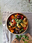 Roast root vegetable with halloumi and kale pesto