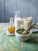 French vinaigrette, Lemon buttermilk dressing, Perfect mayonnaise, Summer herb pesto