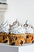 Cinnamon almond cupcakes with swiss meringue cream frosting