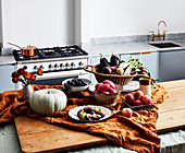 Fruit and vegetable on a rustic kitchen table
