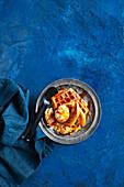 Caramel custard waffle bake with bananas
